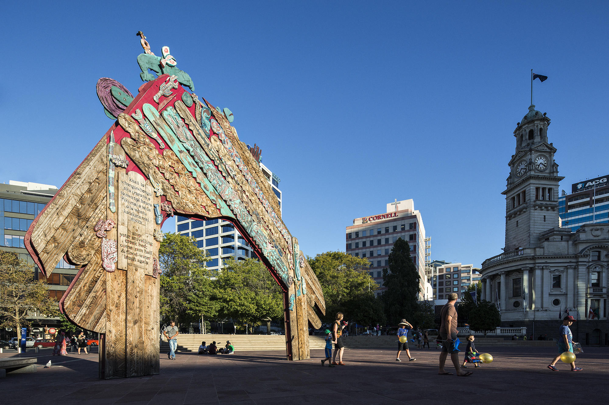Large carved and painted wooden waharoa (gateway) in Aotea Square